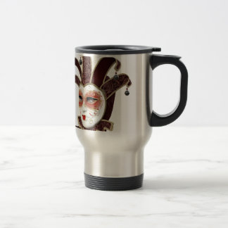 Red and Gold Venetian Carnivale Mask Travel Mug