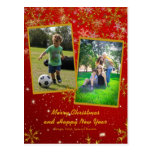 Red and Gold Vertical Christmas Photo Postcard