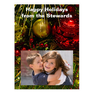 Red and Gold Xmas Ornaments on Tree Photo PCard Postcard