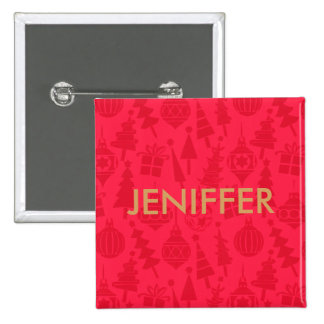 Red and Gold xmas party name Button