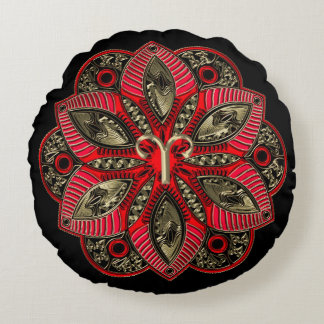 Red and Gold Zodiac Sign Aries Mandala Round Pillow