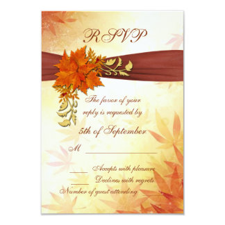 Red and golden autumnal leaves RSVP Card