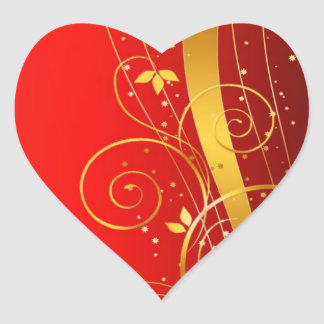 Red and golden Christmas Heart Sticker