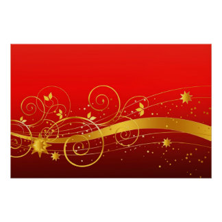 Red and golden Christmas Poster