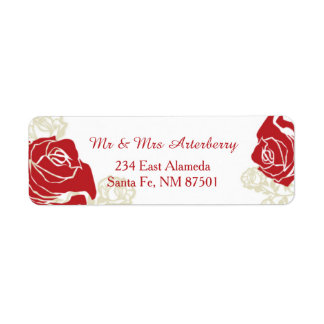 Red and golden roses label