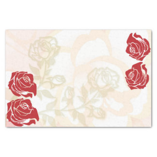 Red and golden roses tissue paper