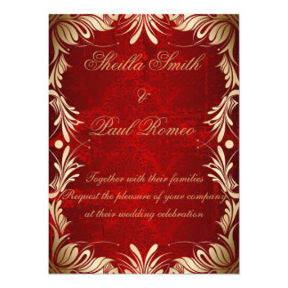 Red and Golden Wedding Invitation