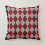 Red and Gray Argyle Pattern Accent Pillow