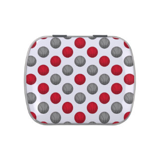 Red and Gray Basketball Pattern Jelly Belly Candy Tin