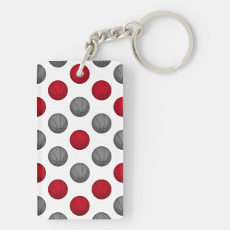 Red and Gray Basketball Pattern Keychain