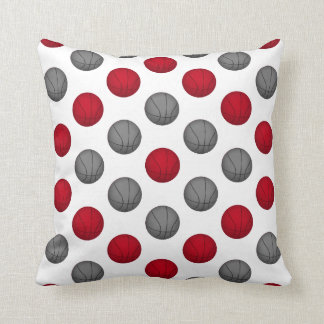 Red and Gray Basketball Pattern Pillow