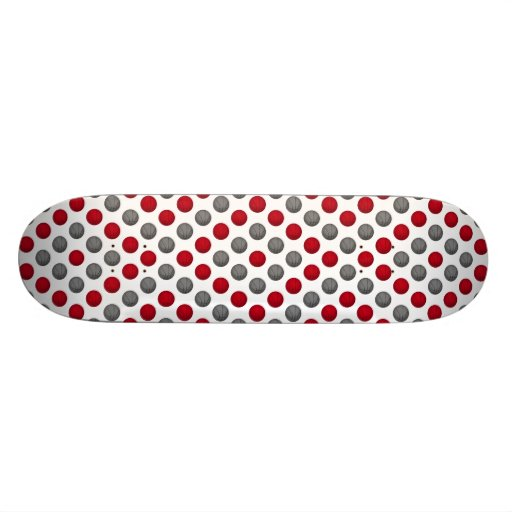 Red and Gray Basketball Pattern Skate Board Deck