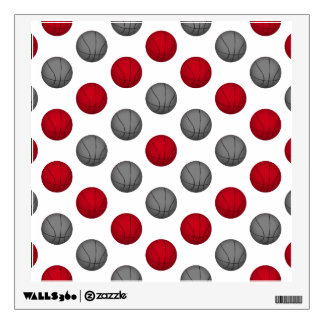 Red and Gray Basketball Pattern Wall Sticker