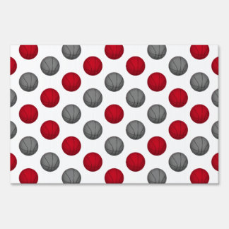 Red and Gray Basketball Pattern Signs