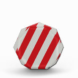 Red and Gray Candy Cane Diagonal Stripes Pattern Acrylic Award