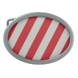 Red and Gray Candy Cane Diagonal Stripes Pattern Oval Belt Buckles