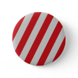 Red and Gray Candy Cane Diagonal Stripes Pattern Buttons