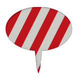 Red and Gray Candy Cane Diagonal Stripes Pattern Cake Toppers