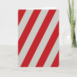 Red and Gray Candy Cane Diagonal Stripes Pattern Greeting Cards
