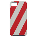 Red and Gray Candy Cane Diagonal Stripes Pattern iPhone 5 Cover