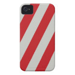 Red and Gray Candy Cane Diagonal Stripes Pattern iPhone 4 Covers