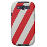 Red and Gray Candy Cane Diagonal Stripes Pattern Samsung Galaxy S3 Cover