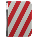 Red and Gray Candy Cane Diagonal Stripes Pattern Cases For Kindle