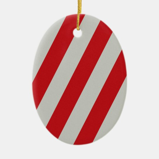 Red and Gray Candy Cane Diagonal Stripes Pattern Ceramic Ornament