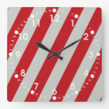 Red and Gray Candy Cane Diagonal Stripes Pattern Clocks