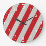 Red and Gray Candy Cane Diagonal Stripes Pattern Clock