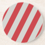 Red and Gray Candy Cane Diagonal Stripes Pattern Beverage Coaster