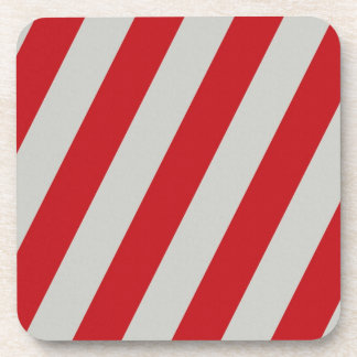 Red and Gray Candy Cane Diagonal Stripes Pattern Drink Coaster
