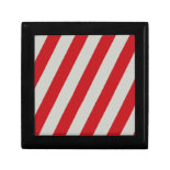 Red and Gray Candy Cane Diagonal Stripes Pattern Keepsake Boxes