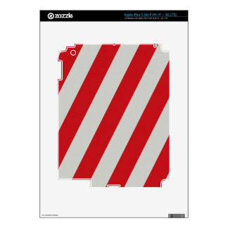 Red and Gray Candy Cane Diagonal Stripes Pattern iPad 3 Skin