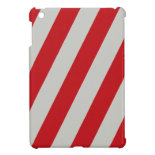 Red and Gray Candy Cane Diagonal Stripes Pattern iPad Mini Case