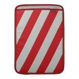 Red and Gray Candy Cane Diagonal Stripes Pattern Sleeve For MacBook Air