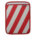 Red and Gray Candy Cane Diagonal Stripes Pattern Sleeves For iPads