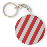 Red and Gray Candy Cane Diagonal Stripes Pattern Key Chain