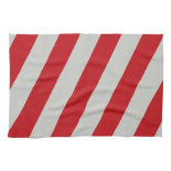 Red and Gray Candy Cane Diagonal Stripes Pattern Kitchen Towel