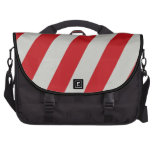 Red and Gray Candy Cane Diagonal Stripes Pattern Laptop Bags