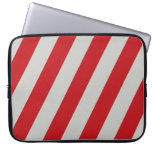 Red and Gray Candy Cane Diagonal Stripes Pattern Laptop Computer Sleeve