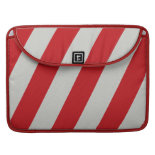 Red and Gray Candy Cane Diagonal Stripes Pattern MacBook Pro Sleeve