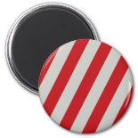 Red and Gray Candy Cane Diagonal Stripes Pattern Magnets