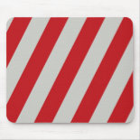 Red and Gray Candy Cane Diagonal Stripes Pattern Mousepads