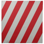 Red and Gray Candy Cane Diagonal Stripes Pattern Printed Napkin