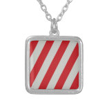 Red and Gray Candy Cane Diagonal Stripes Pattern Custom Jewelry
