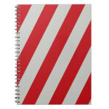 Red and Gray Candy Cane Diagonal Stripes Pattern Spiral Note Books