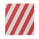 Red and Gray Candy Cane Diagonal Stripes Pattern Memo Note Pad