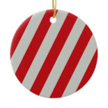Red and Gray Candy Cane Diagonal Stripes Pattern Christmas Tree Ornament
