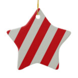 Red and Gray Candy Cane Diagonal Stripes Pattern Ornaments